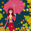 Girl with an umbrella in the autumn falling leaves — Stock Vector