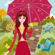 ストックベクタ: Girl with umbrella in autumn park