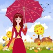 Vector de stock : Girl with umbrella in autumn park
