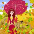 图库矢量图片: Girl with umbrella in autumn park