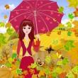 sonbahar Park şemsiye ile kız — Stok Vektör