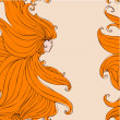 Vector de stock : Girl with beautiful hair seamless