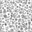 Doodle seamless background with birds and flowers — Vector de stock