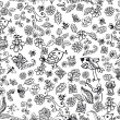 Doodle seamless background with birds and flowers — Imagen vectorial