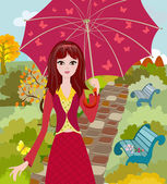 Girl with umbrella in autumn park — Stock Vector