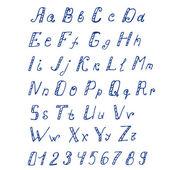 Handwritten ink alphabet — Stock Vector