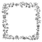Doodle frame elements with flowers and birds — Stock Vector