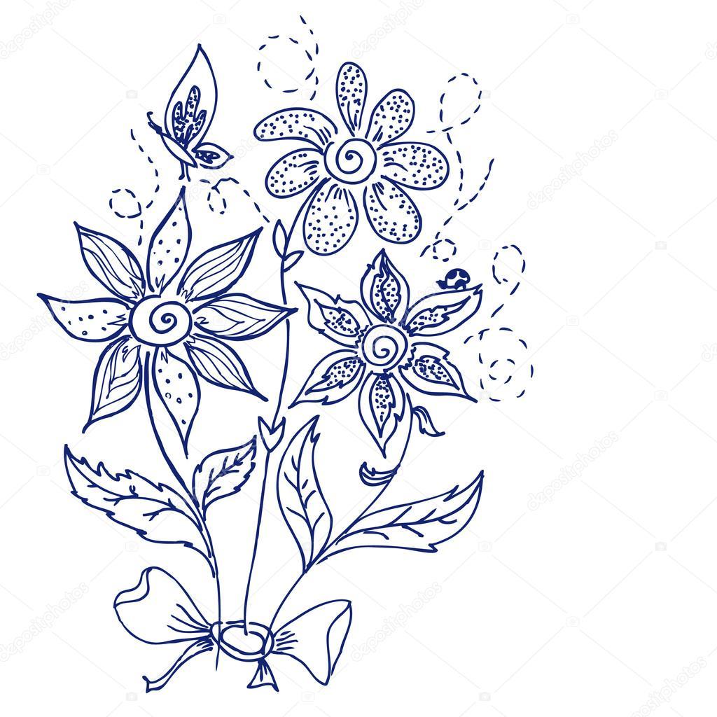 手绘花卉涂鸦 — 图库矢量图像08