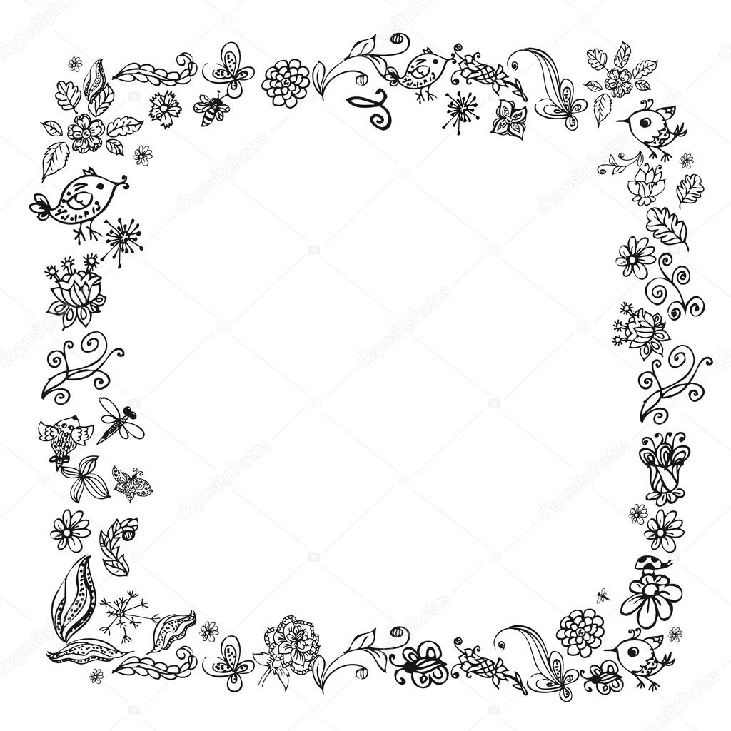 Doodle Frame Elements With Flowers And Birds Stock