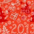 Christmas background with gifts seamless - Stockvectorbeeld