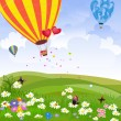 Happy hot air balloon — Stockvectorbeeld