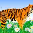 Tiger and flowers2 — Stock Vector #1386559