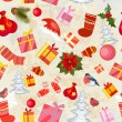 Christmas seamless background with gifts — Stock Vector
