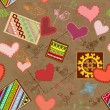 Seamless background with art valentines — Stockvektor