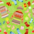 Christmas seamless background with warm clothes - Stock Vector