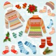 Royalty-Free Stock Vector Image: Set of warm winter clothing