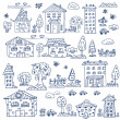 Doodle set of house tree — Stock Vector