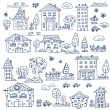 Doodle set of house tree - Stock Vector