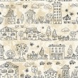 Royalty-Free Stock Imagem Vetorial: Seamless background of city doodle grunge