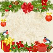 Christmas garland with birds — Stock Vector