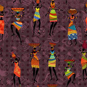 Seamless background of African women — Stock Vector