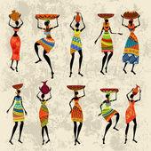 非洲女人 grunge 背景上 — 图库矢量图片