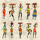 Donna africana su sfondo grunge — Vettoriale Stock