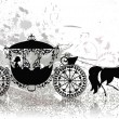 Stock Vector: Vintage carriage with horse grunge