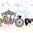 Vintage floral carriage — Stock Vector