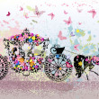 Vintage floral carriage — Stock Vector #14331737