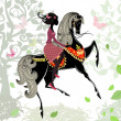 Beautiful Girl riding a horse — Stock Vector
