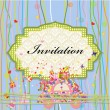 Invitation to car with celebratory gift — Stock Vector