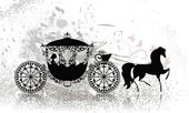 Vintage carriage with horse grunge — Stock Vector