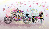 Vintage floral carriage — 图库矢量图片