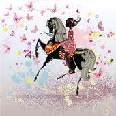 Beautiful Girl riding a horse — Stock Vector