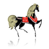 декоративные красивая лошадь хохлома — Cтоковый вектор