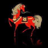 Khokhloma decorativi bel cavallo — Vettoriale Stock