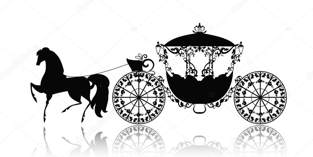 Horse Carriage Silhouette Vintage Silhouette of a Horse