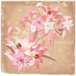 Vintage background with blooming with lilies — Stock Vector #15325537