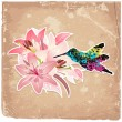 Vintage background with blooming with lilies and bird — Stock Vector
