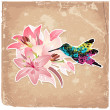 Vintage background with blooming with lilies and bird — Stock Vector #15325539