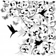 Foliate designs for greetings - Image vectorielle