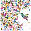 Art grunge floral pattern with bird - Vettoriali Stock 