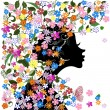 Floral hairstyle, girl and butterfly — Stock Vector #15325597