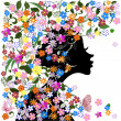 Floral hairstyle, girl and butterfly — Stock Vector