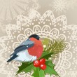 Bullfinch Christmas card — Vector de stock