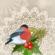 Bullfinch vánoční přání — Stock vektor