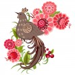 Decorative bird on a branch — Vector de stock #15325669