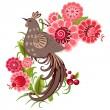 pájaro decorativo sobre una rama — Vector de stock
