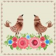 Decorative bird in flowers Khokhloma — Imagen vectorial